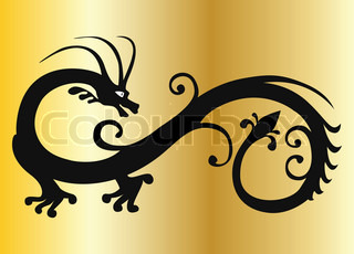 vector black dragon on gold eps 8
