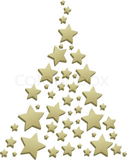Christmas tree with gold star pattern