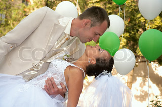 Happy married couple Photosession on open air