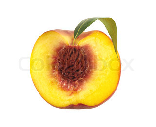 Half of fresh sweet peach with green leaf isolated on white background