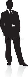 Business man in suit and tie silhouette Vector illustration