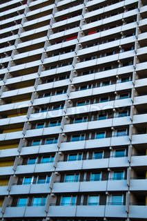 View on balconies of huge apartment building from the 70ths