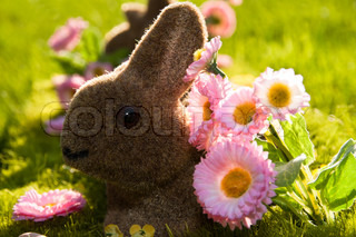 Faked Easter bunny on a beautiful spring meadow with daisies