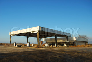 Abandoned gas station in the southern USA