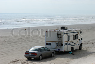 RV on the beach of Padre Island, Corpus Christi