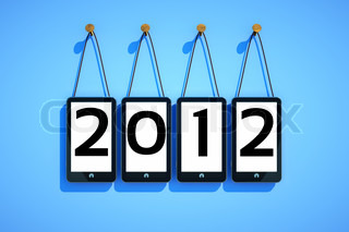 a cellphones on blue background, 2012 new year concept