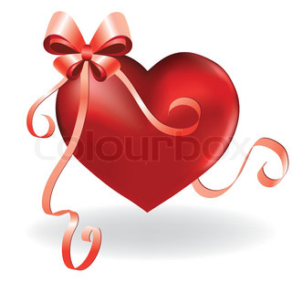 Heart love card valentine background with ribbon and bow vector illustration