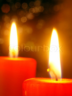 Christmas - two candles with abstract background