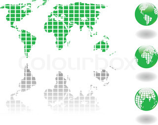the vector green world map and globe eps 8