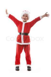 Boy dressed as Santa Claus isolated on white background