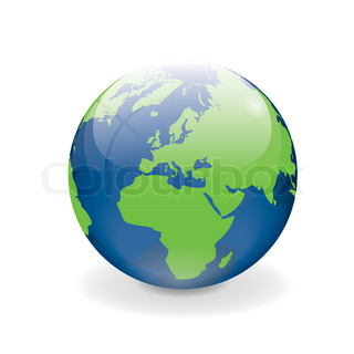 Blue green vector globe Europe