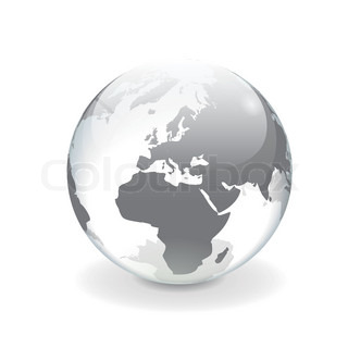 White gray transparent vector globe of Europe