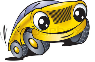 The cartoon car with smile