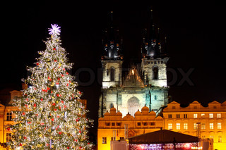 Czech republic - metropolises Prague - Staromestske square with christmas tree