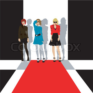 Models at a fashion show illustration