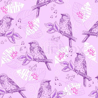 Vintage seamless pattern with sparrows