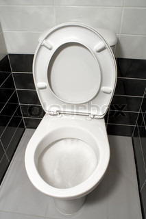 White toilet bowl with open toilet seat cover