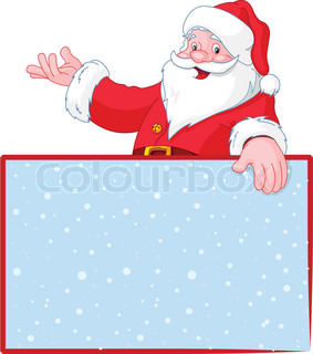 Christmas Santa Claus over blank greeting place card with lift hand