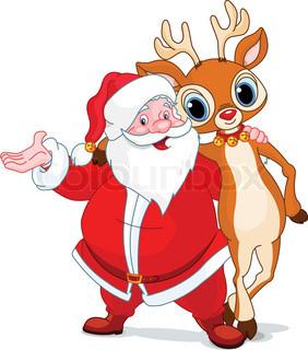 Santa and his reindeer Rudolf hugging