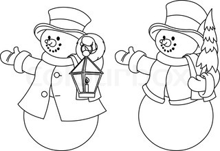 Christmas illustration with two black and white snowmen for coloring