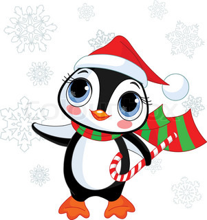Cute Christmas penguin with Santa's hat and scarf