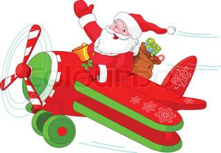Illustration af Santa Flying Hans Jul Plane