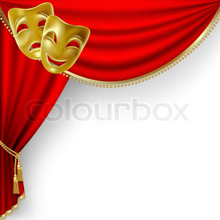 with red curtain and