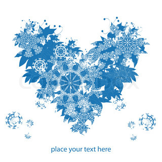 blue modern heart with snowflakes, winter christmas background for text