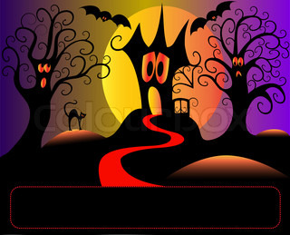 illustration afraid house tree and cat in halloween