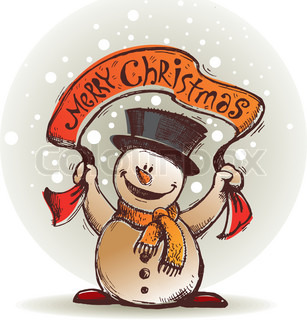 Vector hand drawn smiling snowman with banner