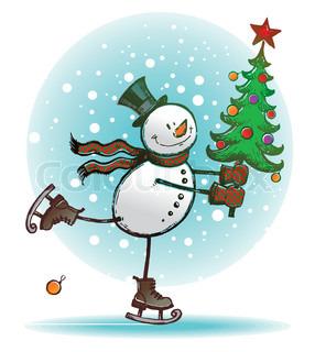 Hand drawn vector  - Skating snowman with Christmas tree