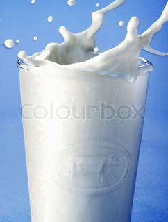 pouring milk in a glass isolated against blue background