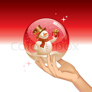 Vector snow globe with snowman