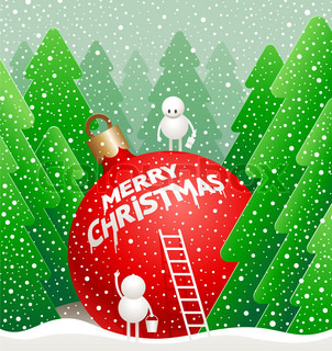 Vector Christmas illustration - little cute snowmens write a  greeting on a giant bauble in the winter forest
