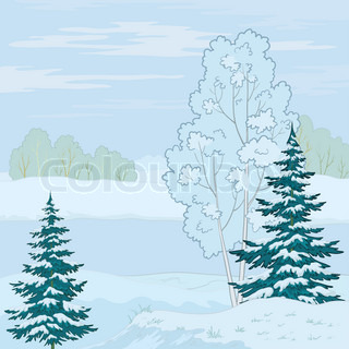 Winter landscape: tree on the shore of a frozen pond and the blue sky with white clouds