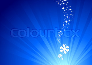 Abstract winter vector background with light & falling snowflakes