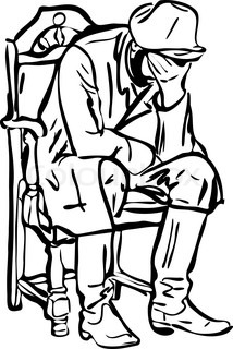 sketch of a man in boots sitting and sleeping in a chair