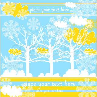 vector winter landscape with trees, clouds, snow, sun and snowflakes, christmas background for text
