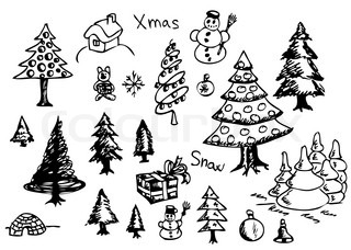 hand drawn christmas objects isolated on the white background