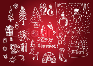 white christmas objects isolated on the red background