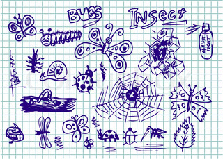 hand drawn insect collection in the blue color