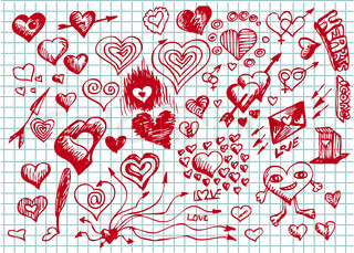 red valentine hearts background in red colors