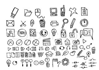 hand drawn computer icons isolated on the white background