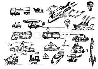 hand drawn transportation icons isolated on the white background
