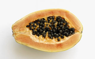High angle view of the cross section of a papaya