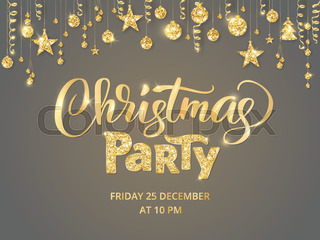 christmas party poster template hand written lettering golden glitter border garland with hanging