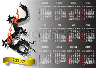 Origami Calendar 2012 with Chinese Black Dragon Vector illustration