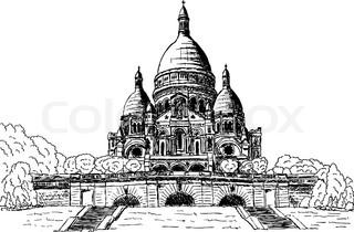 vector - Sacre coeur, hand draw, isolated on background