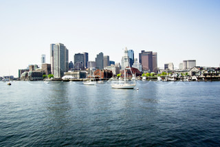 A beautiful view of the Boston skyline, shot from a ferry