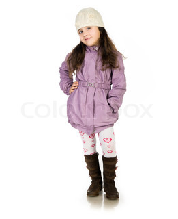 little girl in a coat owerwhite background